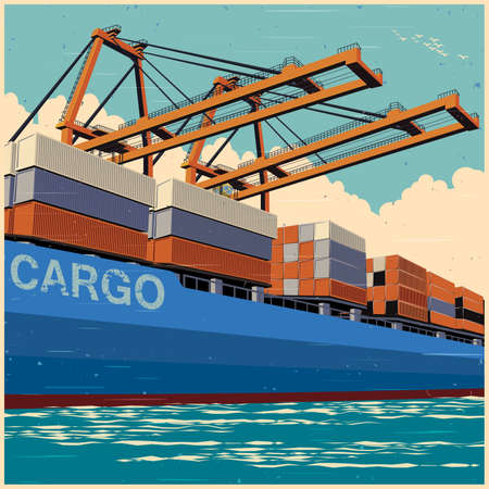 Loading of containers by port cranes on a large container carrier in retro poster style Vector illustration.