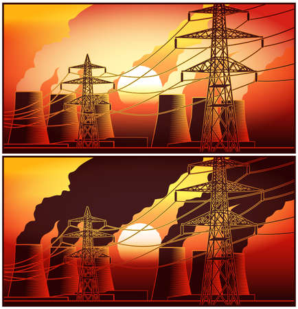 Power station and high-voltage lines at sunset