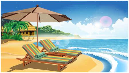 ビーチ、バンガロー、2つのデッキチェアとレトロなポスタースタイルのエキゾチックな国の砂浜の傘