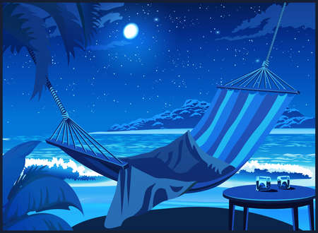 Hammock on a sandy tropical beach and two glasses of whiskey at night Иллюстрация
