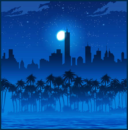 Illustration of the city and palm trees at night. Seamless horizontal if needed