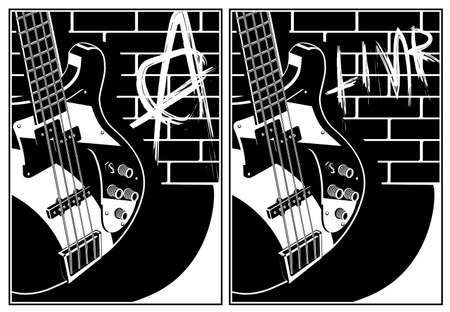Two stylized vector illustration of an electric guitar on a brick wall background with graffiti