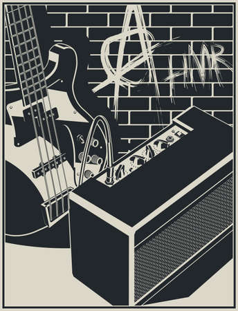 Stylized vector illustration of an electric guitar and guitar amplifier on a brick wall with graffiti background