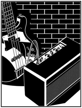 Stilisierte Vektorillustration einer E-Gitarre und eines Gitarrenverstärkers auf einem Backsteinmauerhintergrund