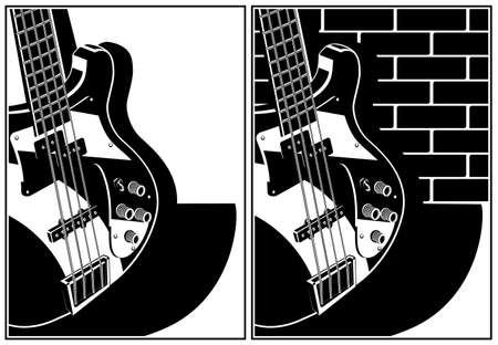 Two stylized vector illustration of an electric guitar  イラスト・ベクター素材