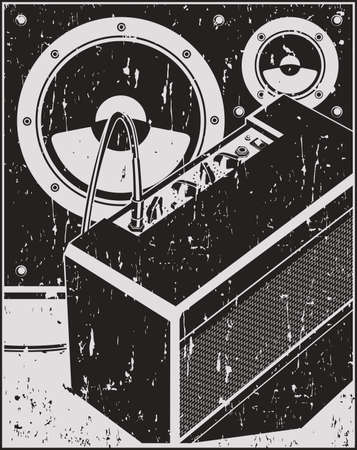 Stylized illustration of concert and studio music equipment, guitar amplifier and speakers in retro poster style