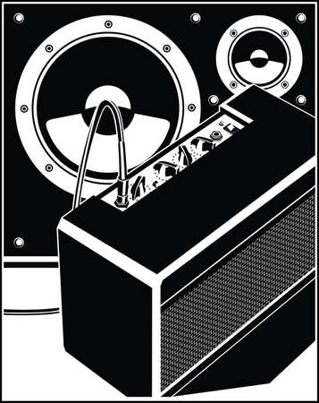 Stylized illustration of concert and studio music equipment, guitar amplifier and speakers Illustration