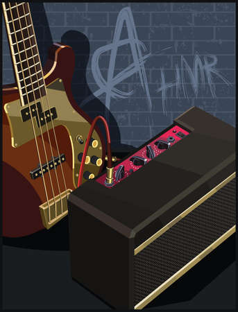 Stylized vector illustration of an electric guitar and guitar amplifier on a old brick wall background with graffiti