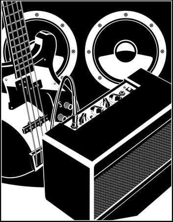 Stilisierte Vektorgrafik einer E-Gitarre, eines Gitarrenverstärkers und eines leistungsstarken Lautsprechers.
