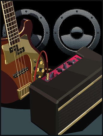 Stylized vector illustration of an electric guitar, guitar amplifier and powerful speaker.