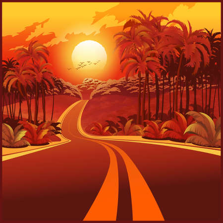 Stylized vector illustration of a road through the jungle at sunset