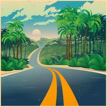 Stylized vector illustration of a road through the picturesque jungle in retro poster style