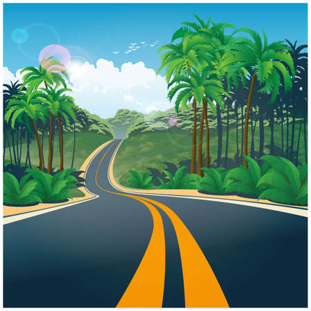 Stylized vector illustration of a road through the picturesque jungle  イラスト・ベクター素材