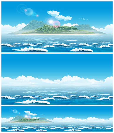 Two seamless horizontal vector illustration of an open sea landscape with an island