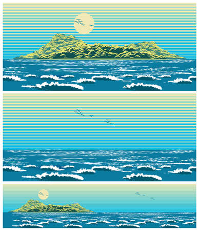 Two seamless horizontal vector illustration of an open sea landscape with an island in retro poster style