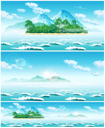 Two seamless horizontal vector illustration of an open sea landscape and tropical islands  イラスト・ベクター素材