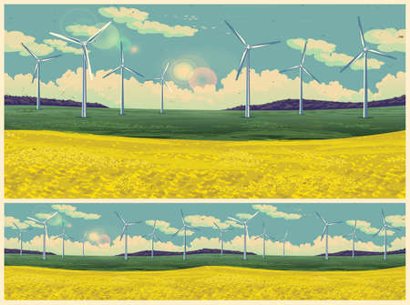 Illustration of a picturesque field with wind generators in retro poster style. Seamless horizontally if needed  イラスト・ベクター素材