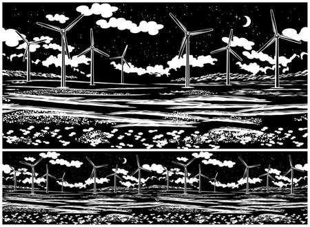 Illustration of a picturesque field with wind generators at night. Seamless horizontally if needed