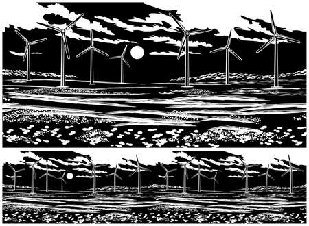 Illustration of a picturesque field with wind generators. Seamless horizontally if needed  イラスト・ベクター素材