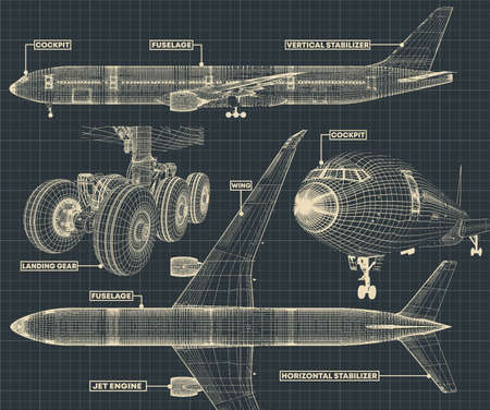 Vector illustration of a fragment of drawings of a civilian jet in the retro style