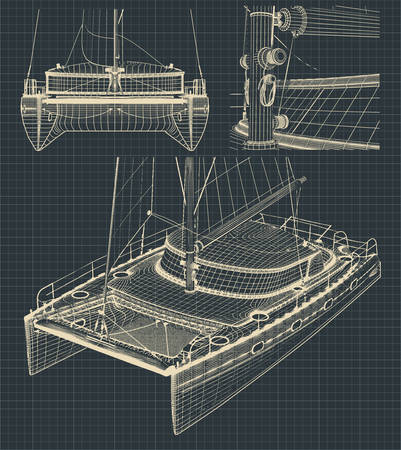 Fragment of stylized drawings of a modern catamaran with a sail in retro style