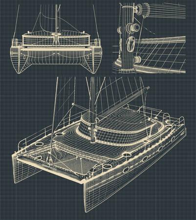 Fragment stilisierter Zeichnungen eines modernen Katamarans mit Segel im Retro-Stil