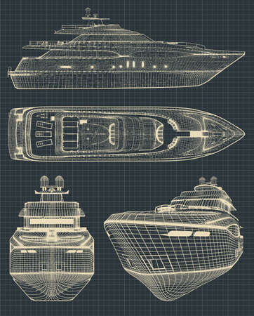 Fragment of stylized drawings of a modern yacht in retro style