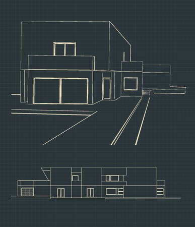 Stylized vector illustration of modern house drawings