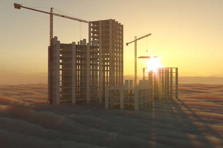 Stylized 3D illustration on the theme of the construction industry. Skyscrapers above the clouds