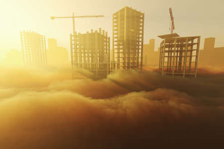 Stylized 3D illustration on the theme of the construction industry. Skyscrapers under construction at sunrise above the clouds 写真素材