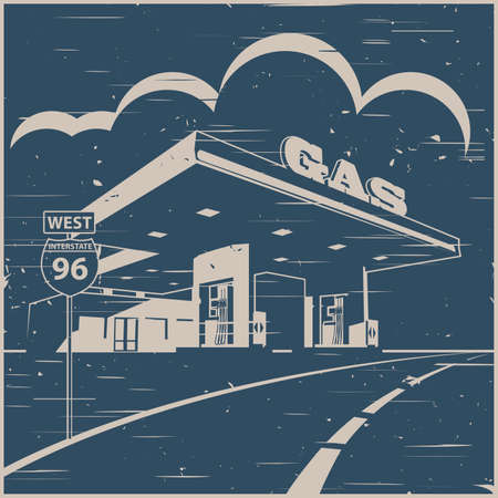 Stylized vector illustration of a gas station on the road in old poster style