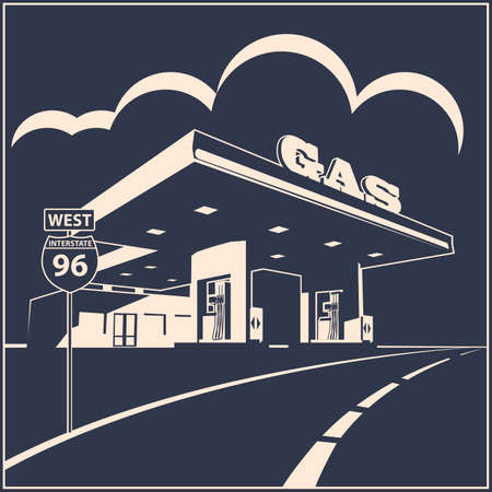 Stylized vector illustration of a gas station on the road Çizim