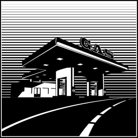 Stylized vector illustration of a gas station on the road in retro style