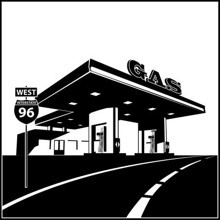 Stylized vector illustration of a gas station on the road Illustration