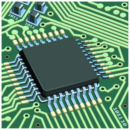 Stylized vector illustration of electronic circuit chip on the board close-up