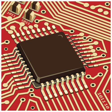 Stylized vector illustration of electronic circuit chip on the red board close-up