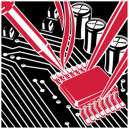 Stylized vector illustration on the theme of circuit design, repair and upgrade of electronic components, soldering chips on the board.