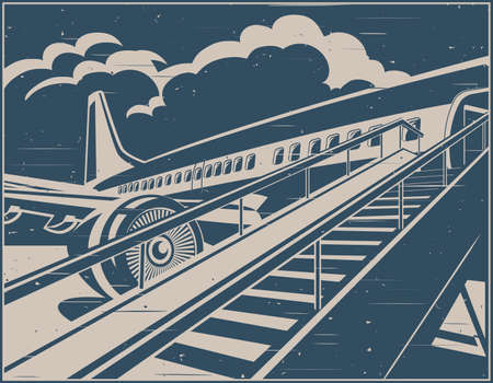 Stylized vector illustration on the theme of civil aviation in retro poster style. Modern jet airplane ready to take on passengers.
