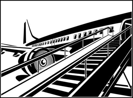 Stylized vector illustration on the theme of civil aviation. Modern jet airplane ready to take on passengers. Çizim
