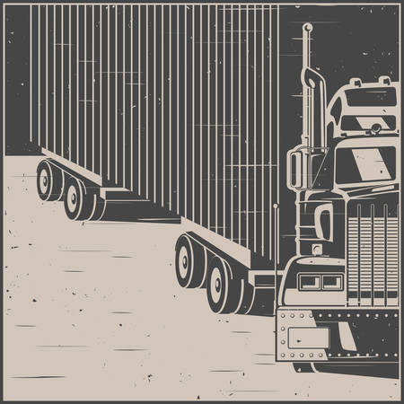 Stylized illustration on the theme of transportation and logistics. Large truck with trailer in retro poster style