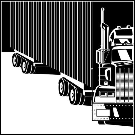 Stylized illustration on the theme of transportation and logistics. Large truck with trailer