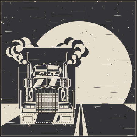Stylized illustration on the theme of transportation and logistics. Big truck with a trailer on the road in retro poster style
