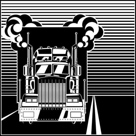 Stylized illustration on the theme of transportation and logistics. Big truck with a trailer on the road