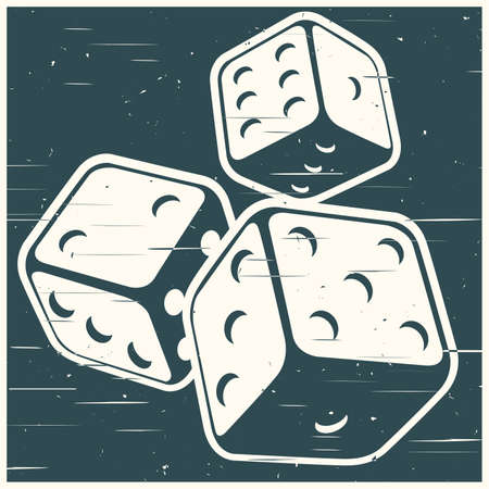 Stylized vector illustration of dices in retro style