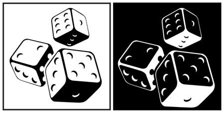 Stylized vector illustration of dices with black and white background