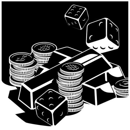 Stylized vector illustration on the theme of money, opportunities, wealth, chance and fortune