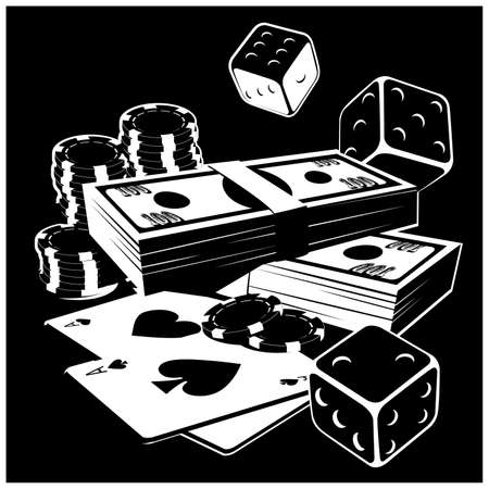 Stylized vector illustration on the theme of gambling, money, wealth, fortune