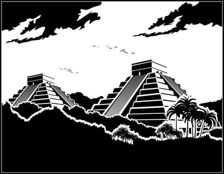 Stylized vector illustration of ancient Mayan pyramids in the jungle  イラスト・ベクター素材