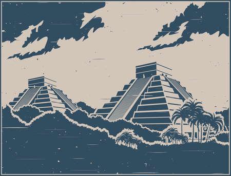 Illustrazione vettoriale stilizzata di antiche piramidi Maya nella giungla in stile poster retrò Vettoriali