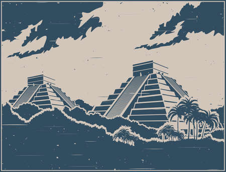 Stylized vector illustration of ancient Mayan pyramids in the jungle in retro poster style